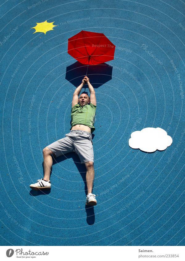 skydiver Mensch maskulin Mann Erwachsene 1 18-30 Jahre Jugendliche fliegen außergewöhnlich blau Gefühle Freude Lebensfreude Angst Entsetzen Flugangst gefährlich