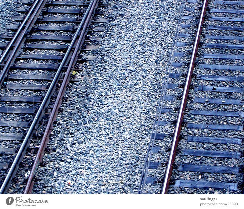 Fernweh blau Ferien & Urlaub & Reisen Ferne Verkehr Eisenbahn Gleise
