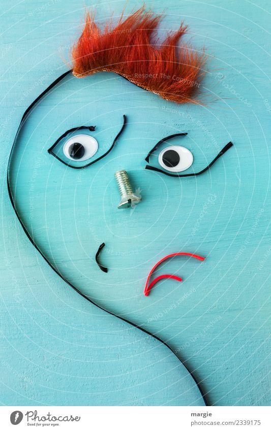 Emotionen...coole Gesichter: windig heute! Mensch maskulin feminin androgyn Frau Erwachsene Mann Auge Mund 1 Haare & Frisuren rothaarig kurzhaarig blau orange