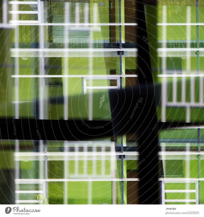 Focus weiß grün schwarz Fenster Architektur Linie Glas Fassade Design außergewöhnlich verrückt Perspektive einzigartig chaotisch bizarr trendy