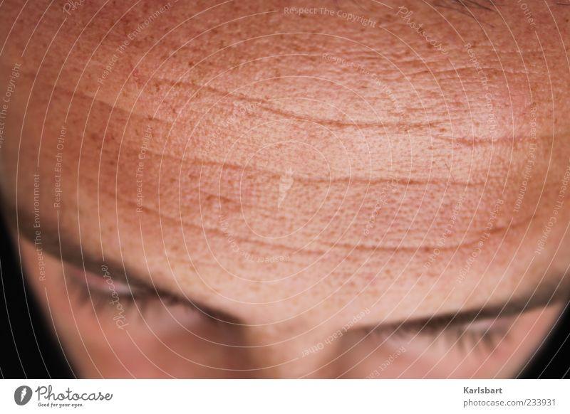 abgrund. Mensch Mann Einsamkeit ruhig Gesicht Erwachsene Auge Kopf hell maskulin einzeln Fernsehen Notebook Bildschirm Sinnesorgane Augenbraue