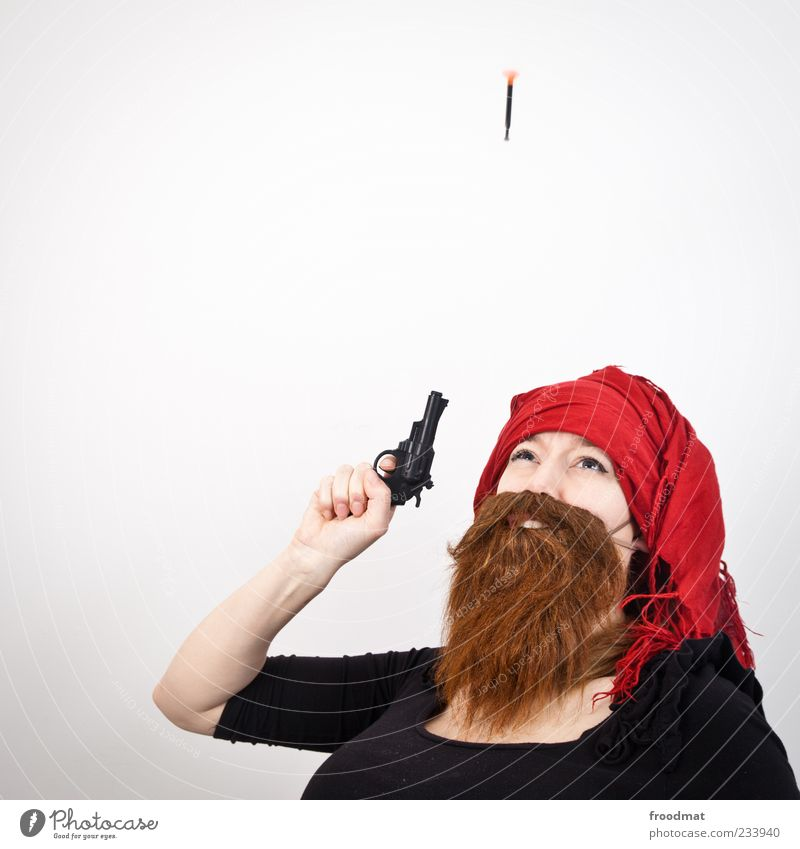 jetzt erst recht... Mensch Frau Mann Erwachsene lachen lustig Feste & Feiern maskulin Karneval Bart skurril Karnevalskostüm Waffe Pistole Schuss Klischee