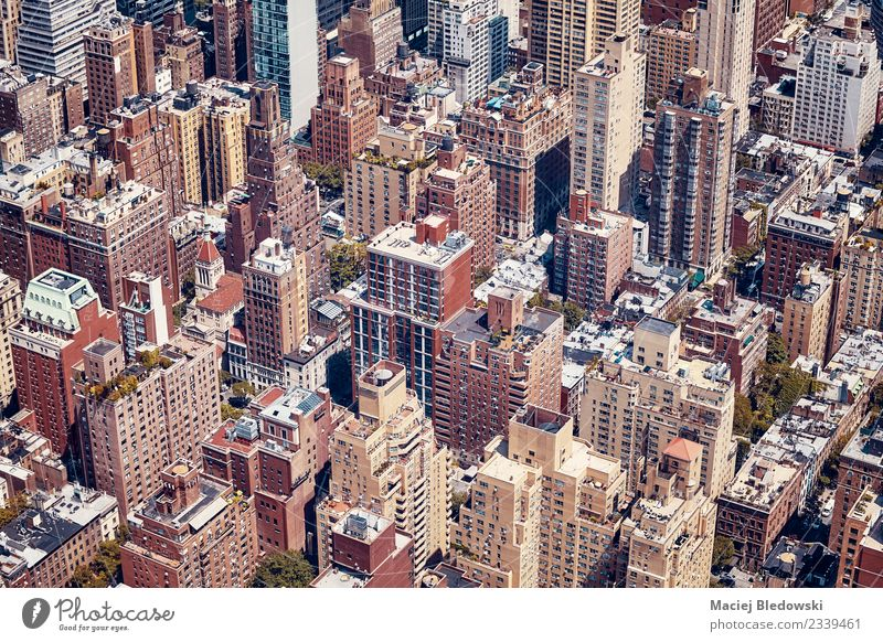Vintage getontes Luftbild von New York City, USA Häusliches Leben Wohnung Haus Stadt Stadtzentrum überbevölkert Hochhaus Gebäude Architektur Fassade Dach alt