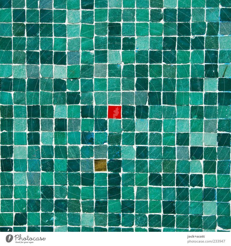 kleines Rotes im Quadrat Kunsthandwerk Straßenkunst Wand Ornament Linie eckig viele grün rot Stimmung Mittelpunkt Mosaik Farbenspiel Oberfläche Anordnung Fuge