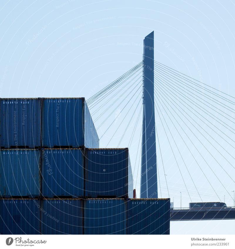 Schwerlastverkehr blau Metall hoch Ordnung liegen Seil groß Verkehr Hamburg Brücke Industrie Güterverkehr & Logistik Bauwerk Hafen Lastwagen Verkehrswege
