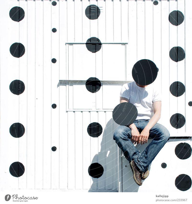point of sale Mensch Mann schwarz Erwachsene Leben Kunst sitzen warten maskulin außergewöhnlich Punkt Container Maler Kunstwerk verdeckt gepunktet