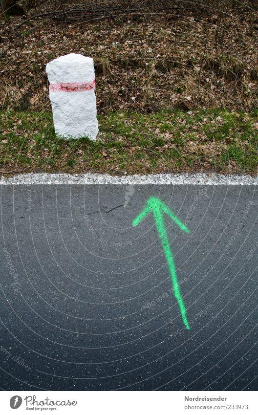 Stein des Anstosses... Gras Wiese Straße Wege & Pfade Zeichen Schilder & Markierungen Linie Pfeil Beginn Richtung richtungweisend Richtungswechsel Asphalt