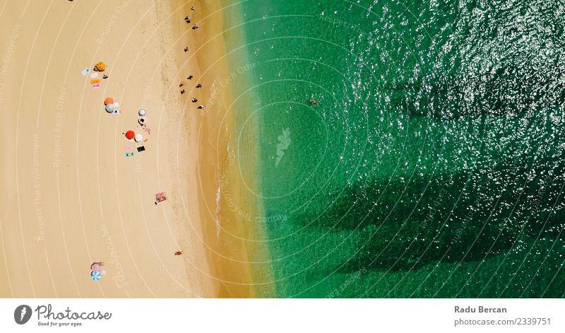Luftaufnahme der Menschenmenge am Portugal Beach Lifestyle exotisch Schwimmen & Baden Ferien & Urlaub & Reisen Abenteuer Sommer Sommerurlaub Sonne Sonnenbad