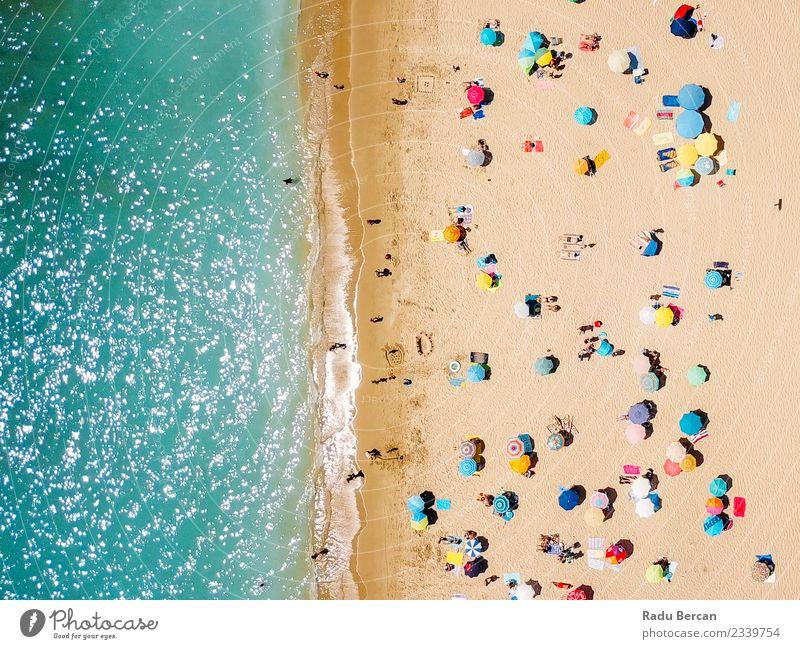 Luftaufnahme von fliegenden Drohnen der Menschenmenge Lifestyle Wellness Erholung Schwimmen & Baden Ferien & Urlaub & Reisen Abenteuer Freiheit Sommer