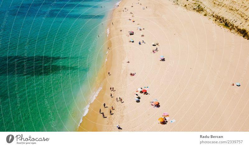 Luftaufnahme von fliegenden Drohnen von Menschen am Strand Lifestyle exotisch Wellness Schwimmen & Baden Ferien & Urlaub & Reisen Freiheit Sommer Sommerurlaub