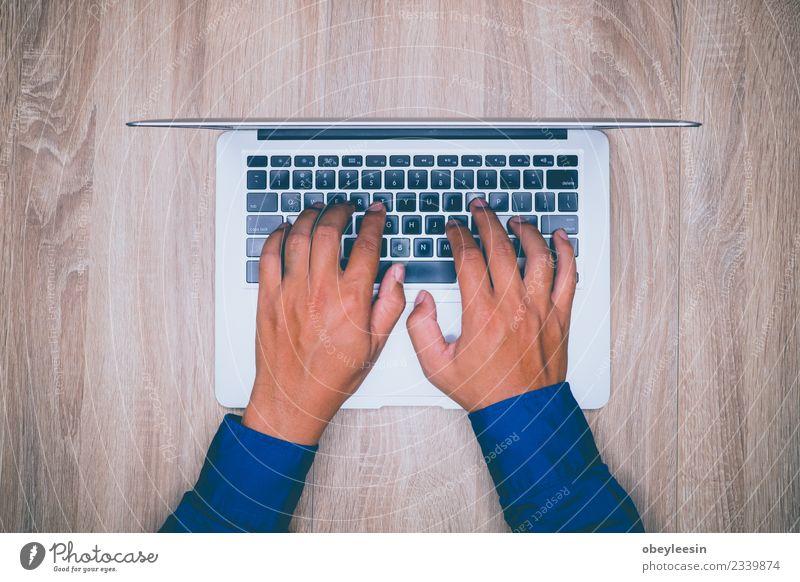 Mensch Ferien & Urlaub & Reisen Mann weiß Hand Erwachsene natürlich Business Glück Arbeit & Erwerbstätigkeit Büro modern Technik & Technologie Aussicht stehen