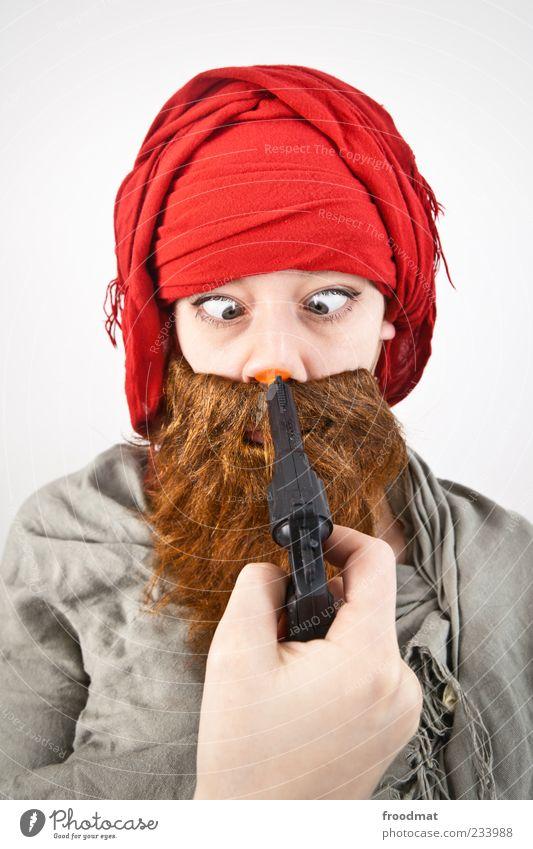 Schlechte Zeiten Feste & Feiern Karneval Mensch maskulin Frau Erwachsene Mann Bart 1 Kopftuch Vollbart bedrohlich lustig Attentäter Terrorist Pistole