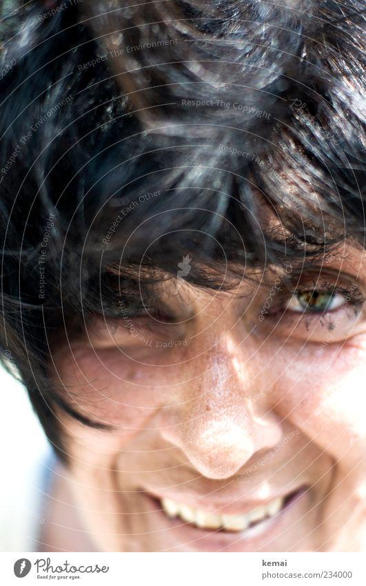 Bad hair day vs. birth day Mensch Frau Freude schwarz Gesicht Erwachsene Auge Leben Senior Kopf Haare & Frisuren lachen lustig Wind Mund Nase