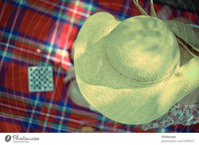 Mensch blau rot Sommer Erwachsene gelb Freizeit & Hobby 18-30 Jahre berühren Hut genießen Picknick Junge Frau kariert Trinkhalm