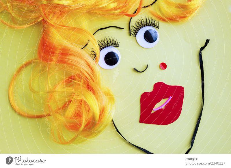 Echte Blondine | Collage Frauengesicht schön Haare & Frisuren Schminke Lippenstift Basteln Mensch feminin Erwachsene Gesicht Auge Mund 1 blond gelb gold rot