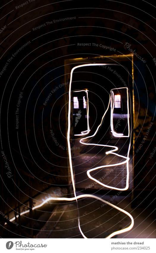 BITTE FOLGEN Haus dunkel Fenster kalt Wand Mauer Gebäude Linie Tür elegant Treppe außergewöhnlich ästhetisch einzigartig Fabrik Bauwerk