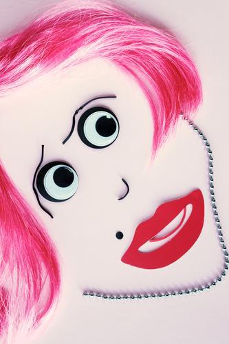 Betthupferl | nur für Männer Mensch feminin Junge Frau Jugendliche Erwachsene Gesicht Auge Mund Lippen 1 Kunst Kunstwerk rosa rot Gefühle Liebe Erotik schön