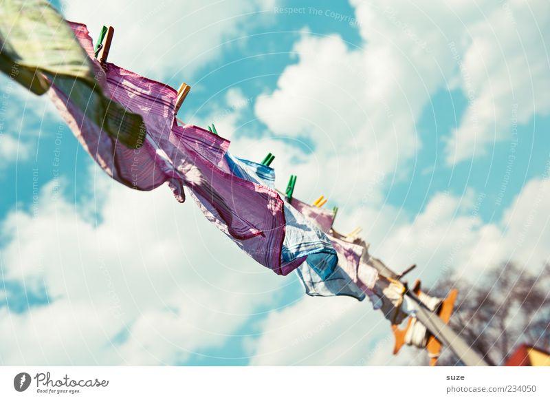 Waschtag Himmel Sommer Wolken Wind frisch Sauberkeit Schönes Wetter Duft hängen Wäsche wehen trocknen Klammer Wäscheleine Alltagsfotografie Wäscheklammern
