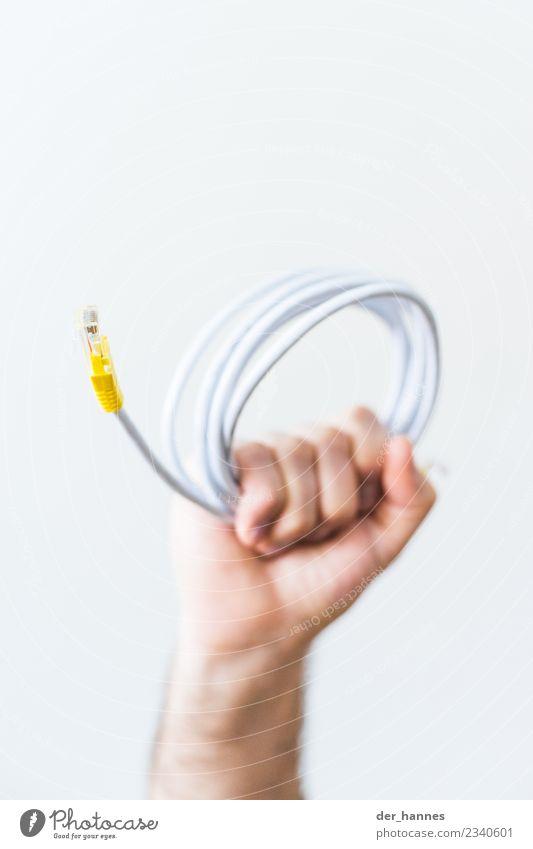 verbunden Hardware Kabel Technik & Technologie High-Tech Telekommunikation Informationstechnologie Internet Neue Medien rebellisch gelb trotzig LAN Ethernet