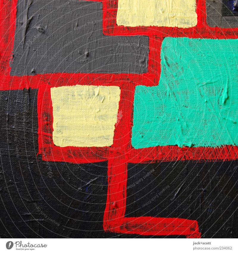Fett auf mager Kunstwerk Streifen authentisch einfach gelb grau grün schwarz Kreativität Leinwand Acrylfarbe Oberflächenstruktur Gemälde Ausdruck unregelmäßig