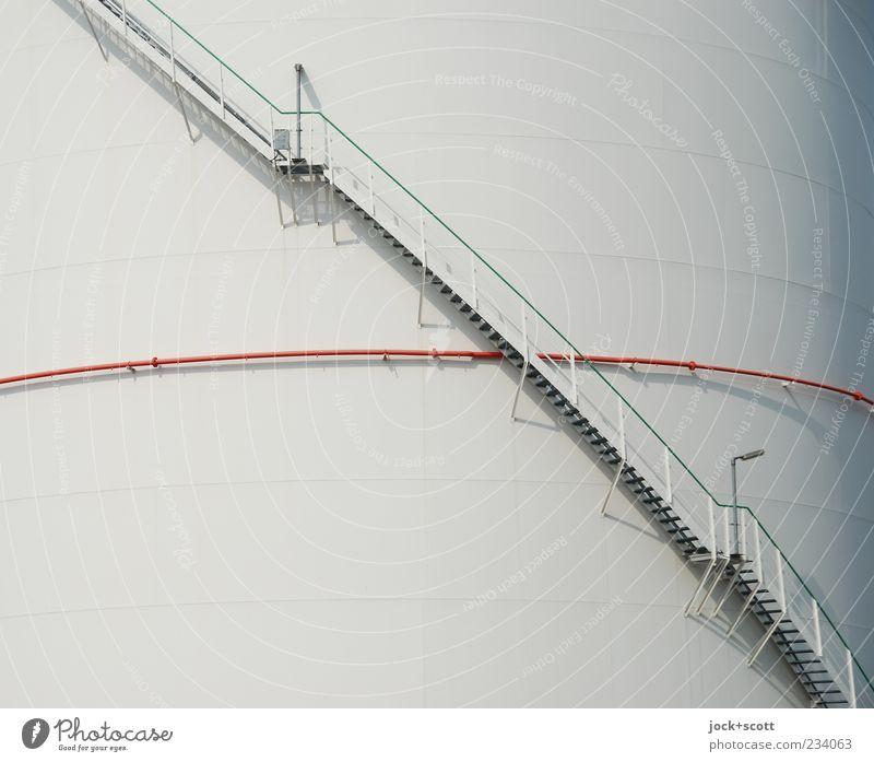 Treppe nach BGV D 36 weiß Linie Metall Energiewirtschaft Ordnung modern hoch Technik & Technologie einfach planen Sicherheit Geländer dünn lang Treppengeländer