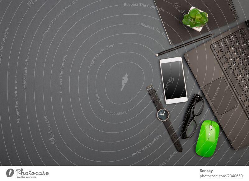 grün schwarz Business grau Arbeit & Erwerbstätigkeit oben Textfreiraum Büro modern Technik & Technologie Kreativität Tisch Computer Buch Papier Industrie