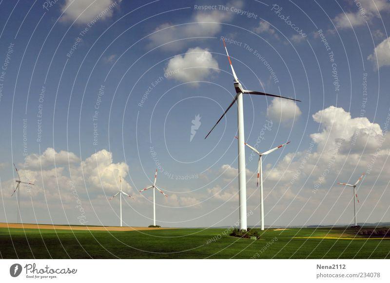 Windkraft Himmel blau Sommer Wolken Wiese Landschaft Frühling Luft Wetter Wind Feld Energiewirtschaft hoch Klima Energie Schönes Wetter