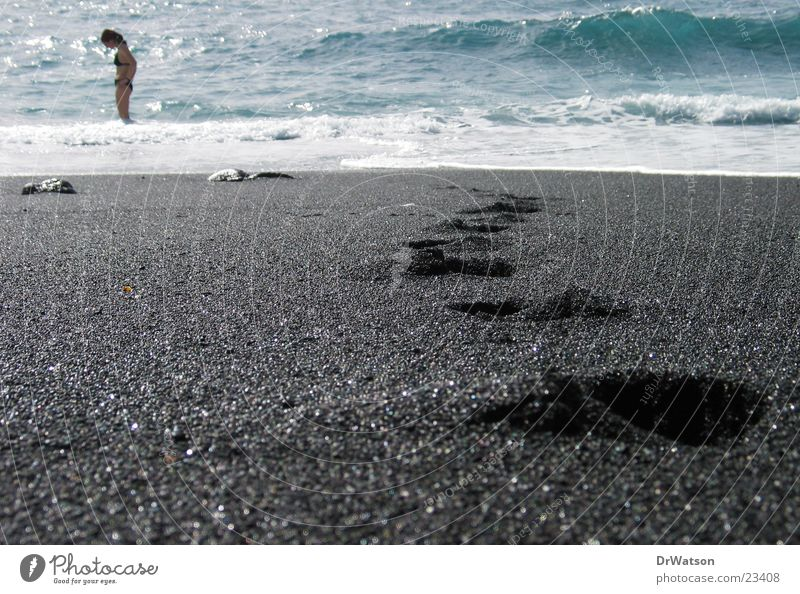 Spuren im Sand Wasser Meer Strand Sand Spuren Schwimmen & Baden Fußspur