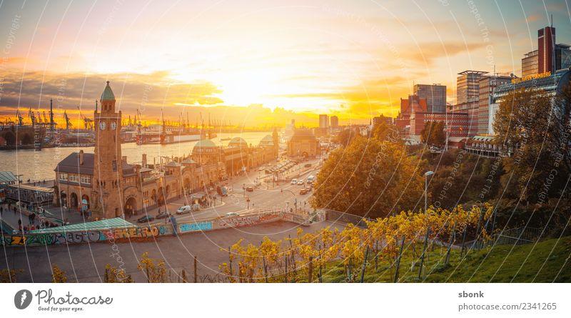Hamburg Sunset Ferien & Urlaub & Reisen Architektur Gebäude Deutschland Skyline Panorama (Bildformat) Großstadt