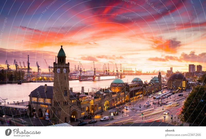 Hamburg Abendrot Stadt Skyline Ferien & Urlaub & Reisen Großstadt harbour river urban transport public train autumn evening bridge cityscape Deutschland german