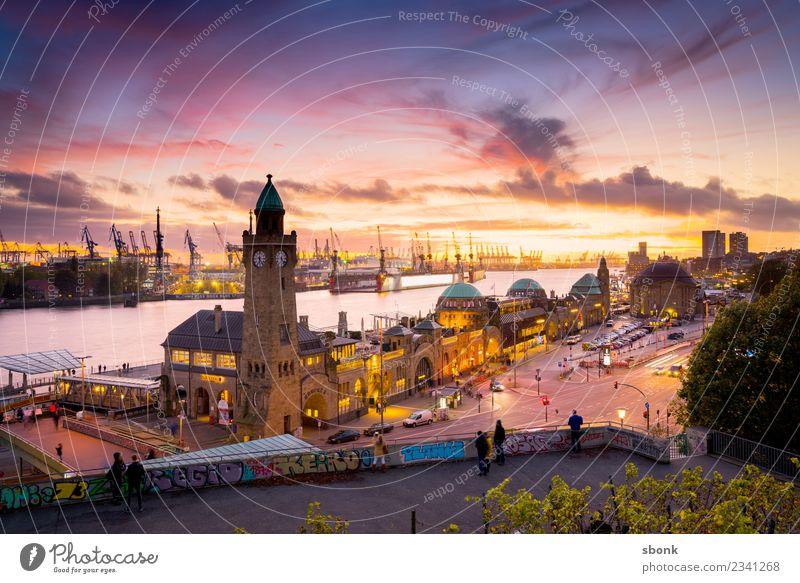 Hamburg Abend-Skyline Ferien & Urlaub & Reisen Stadt Deutschland Großstadt Landungsbrücken