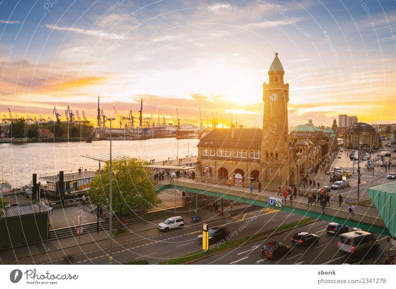 Sonnenuntergang in Hamburg Skyline Ferien & Urlaub & Reisen Großstadt harbour river urban transport public train autumn evening bridge cityscape Deutschland
