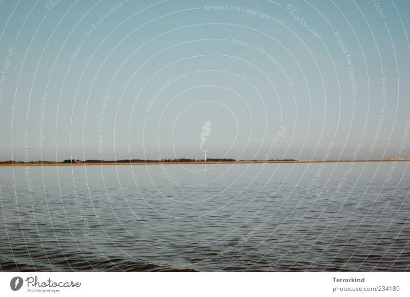 Spiekeroog | ichbinimmerganzweitweg Meer Wellen Wasser Windkraftanlage Erneuerbare Energie Strand Sand Himmel Wolken Sommer Sonnenlicht Textfreiraum oben