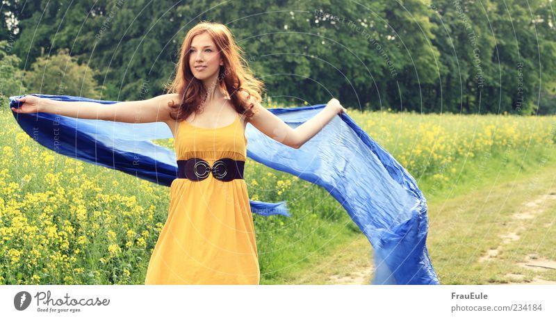 sommerlaune Natur Jugendliche blau Baum Sonne Sommer Freude Wald gelb Freiheit Glück Luft träumen Feld natürlich frei