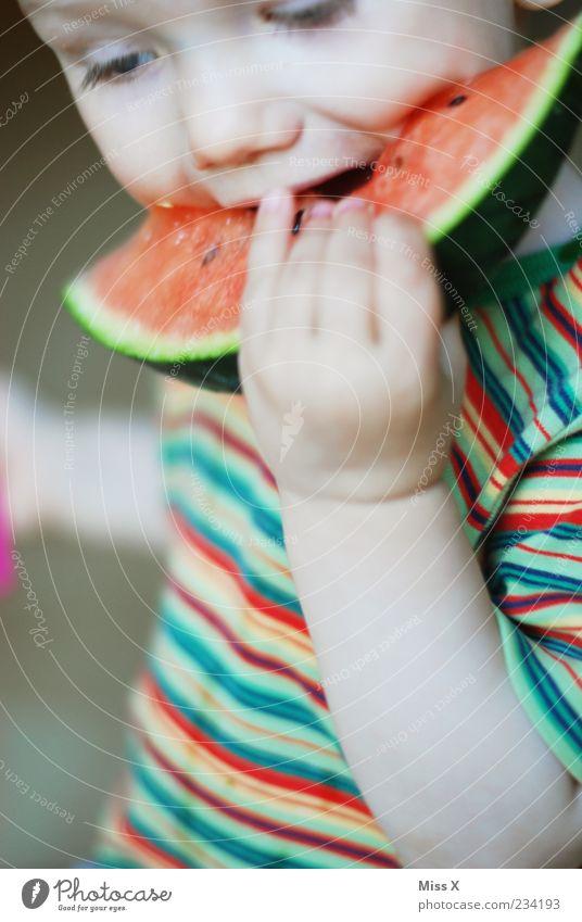Melone Mensch Kind Hand rot Ernährung Lebensmittel Essen Kindheit Frucht nass süß festhalten Kleinkind Appetit & Hunger genießen lecker