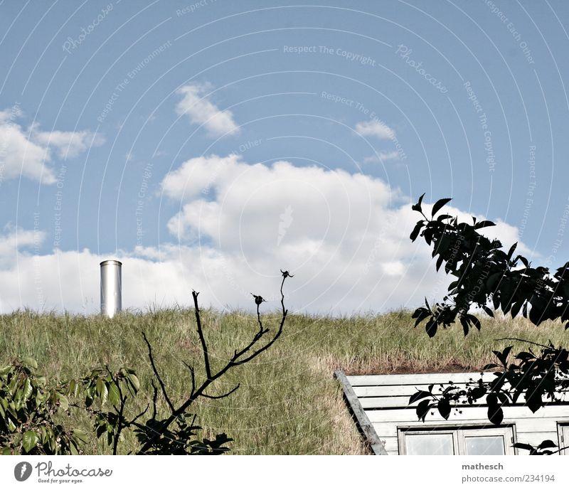 Grasdach Haus Natur Luft Himmel Wolken Gebäude Dach Schornstein blau grün Farbfoto Außenaufnahme Menschenleer Textfreiraum oben Tag Kontrast