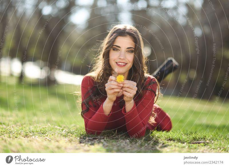 junge Frau ruht im Park und lächelt mit einem Löwenzahn. Lifestyle Glück schön Haare & Frisuren Erholung Sommer Mensch feminin Junge Frau Jugendliche Erwachsene