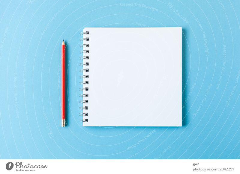 Stift und Block blau weiß rot Schule Design Büro ästhetisch Ordnung Kreativität lernen Idee Papier Studium einfach planen schreiben