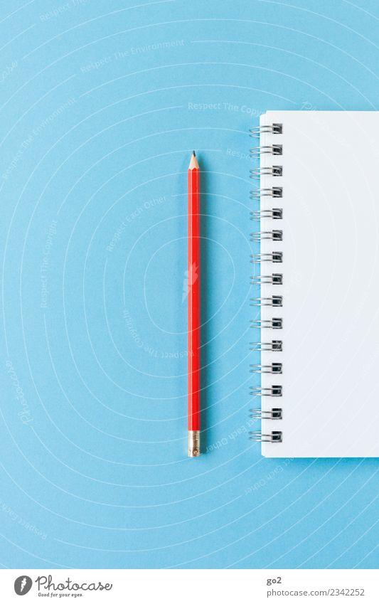 Stift und Block blau weiß rot Schule Arbeit & Erwerbstätigkeit Design Freizeit & Hobby Büro ästhetisch Ordnung Kreativität Idee Papier Studium einfach schreiben
