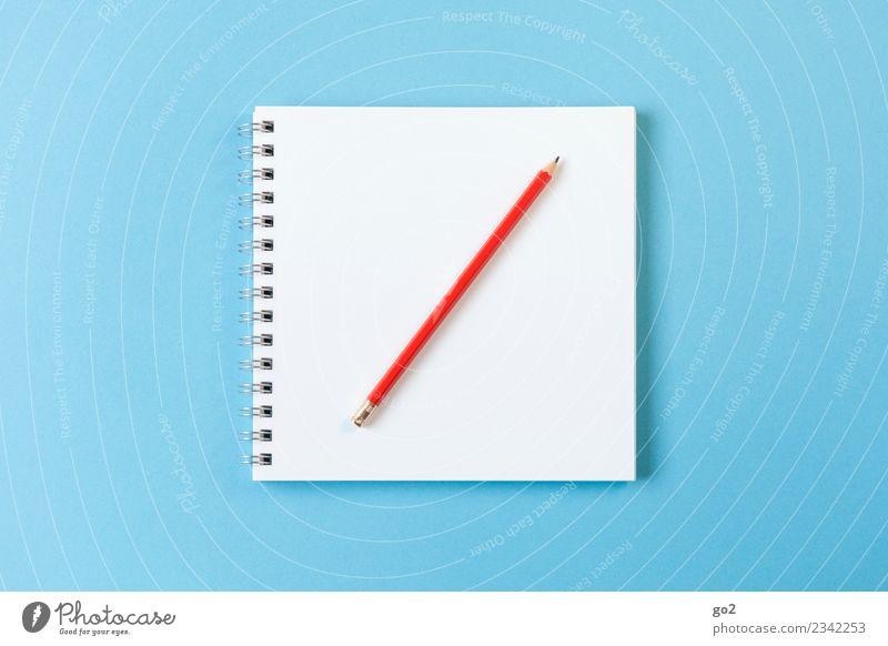 Inspiration gesucht blau weiß rot sprechen Schule Design Freizeit & Hobby Büro ästhetisch Ordnung Kreativität lernen Idee Papier Studium schreiben