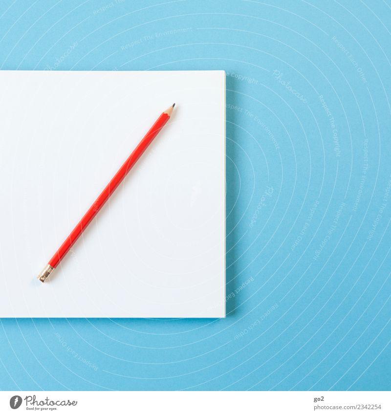 Stift und Papier blau weiß rot sprechen Schule Arbeit & Erwerbstätigkeit Büro ästhetisch Ordnung Kreativität lernen Idee Studium einfach schreiben