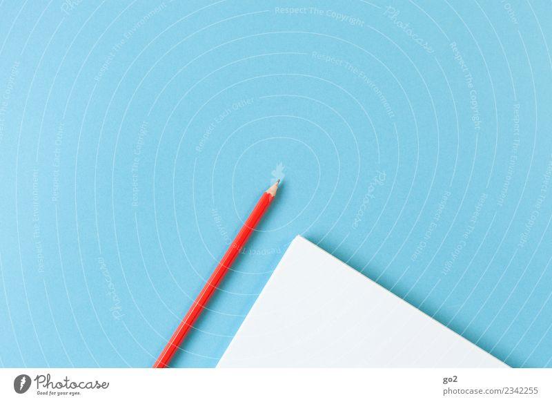 Stift und Papier blau weiß rot Schule Arbeit & Erwerbstätigkeit Freizeit & Hobby Büro ästhetisch Ordnung Kreativität lernen Idee Studium einfach schreiben