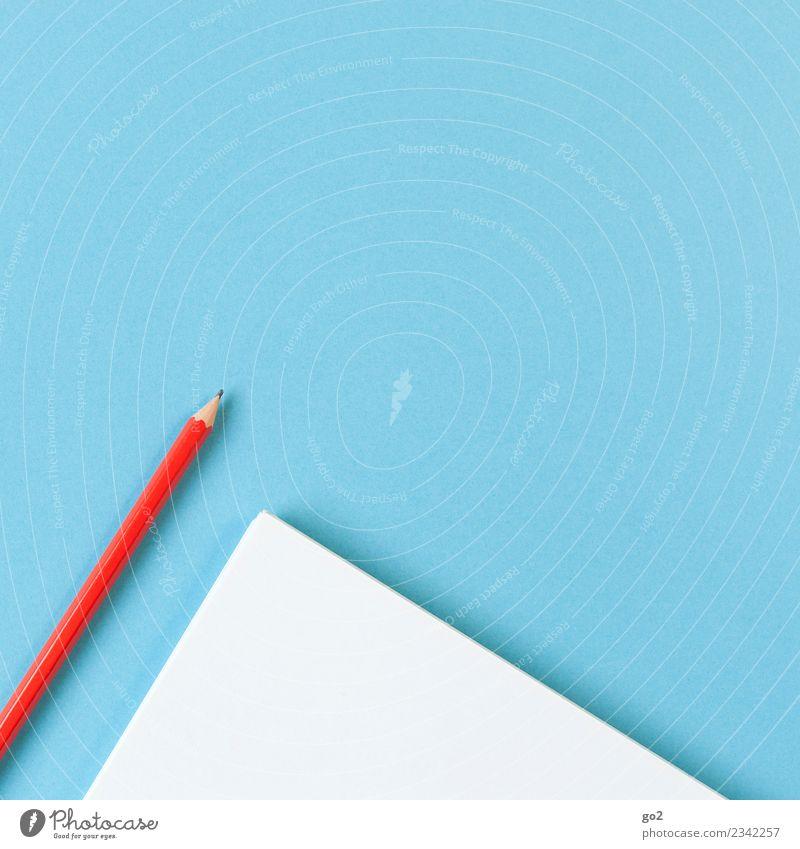 Stift und Papier blau weiß rot Schule Design Freizeit & Hobby Büro ästhetisch Ordnung Kreativität lernen Idee Studium schreiben Bildung