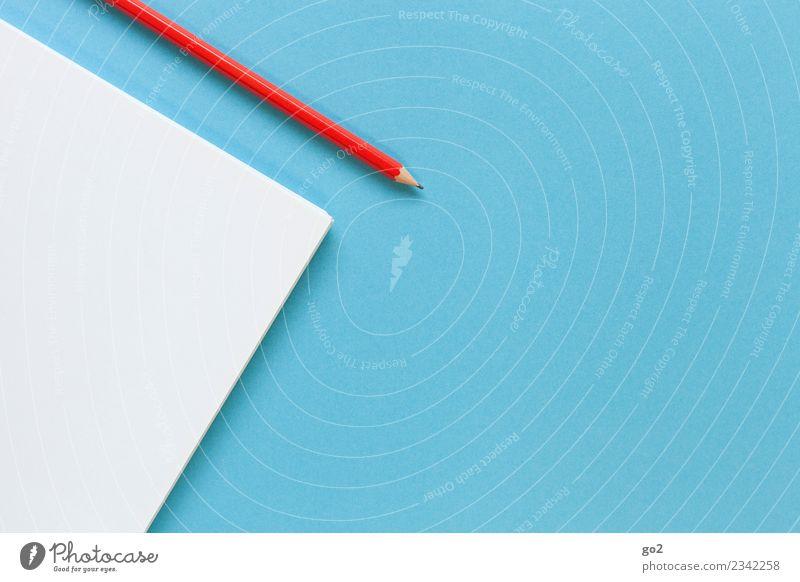 Stift und Papier blau weiß rot sprechen Schule Arbeit & Erwerbstätigkeit Design Freizeit & Hobby Büro ästhetisch Ordnung Kreativität lernen Idee Studium