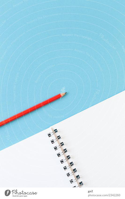 Bleistift und Papier blau weiß rot Kunst Schule Design Freizeit & Hobby Büro ästhetisch Ordnung Kreativität lernen Idee Studium einfach