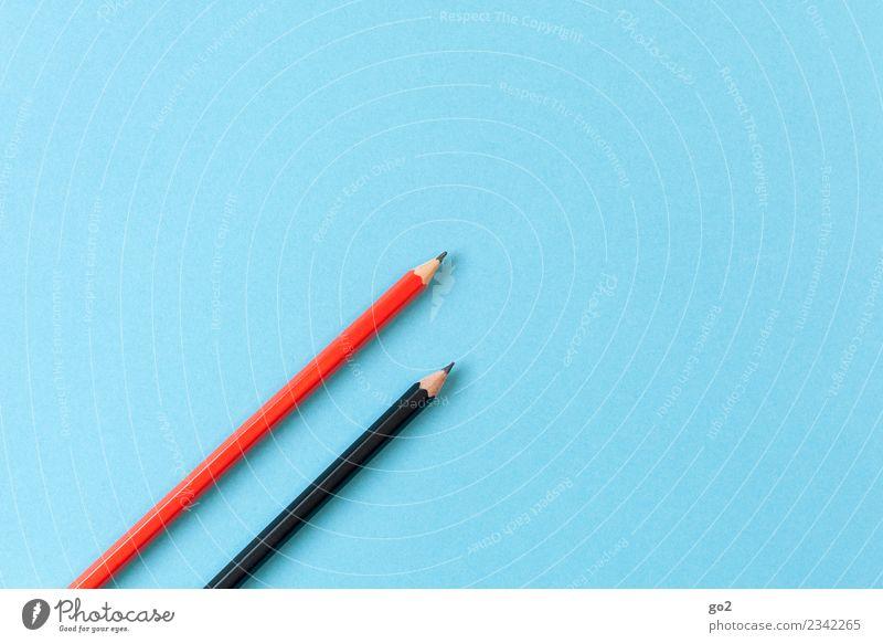 Rotstift und Schwarzstift Schule Studium Arbeitsplatz Büro Werbebranche Karriere Erfolg Sitzung sprechen Team Schreibstift zeichnen schreiben blau rot schwarz