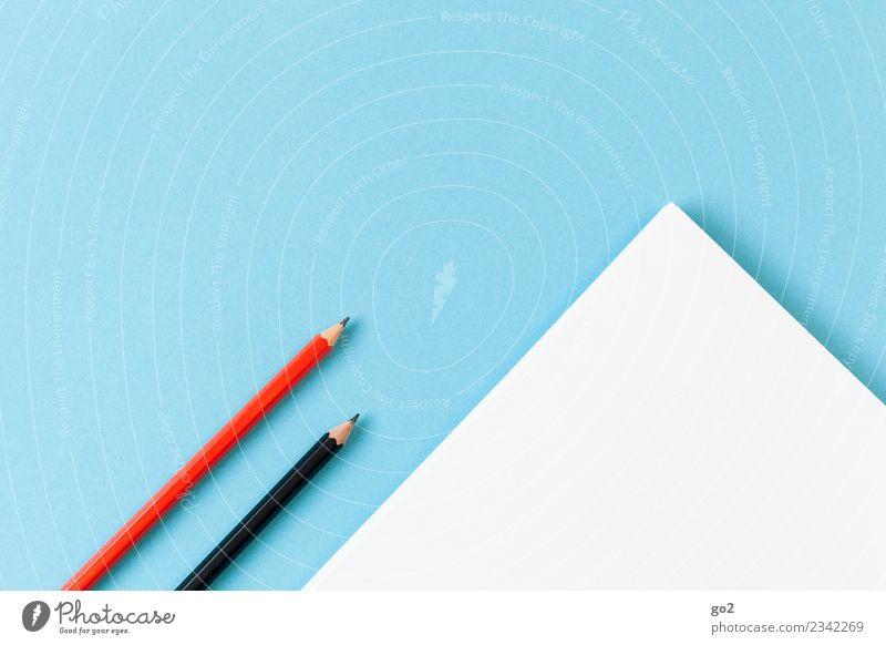 Stifte und Papier blau weiß rot schwarz Schule Design Freizeit & Hobby Büro ästhetisch Ordnung Kreativität lernen Idee Studium schreiben