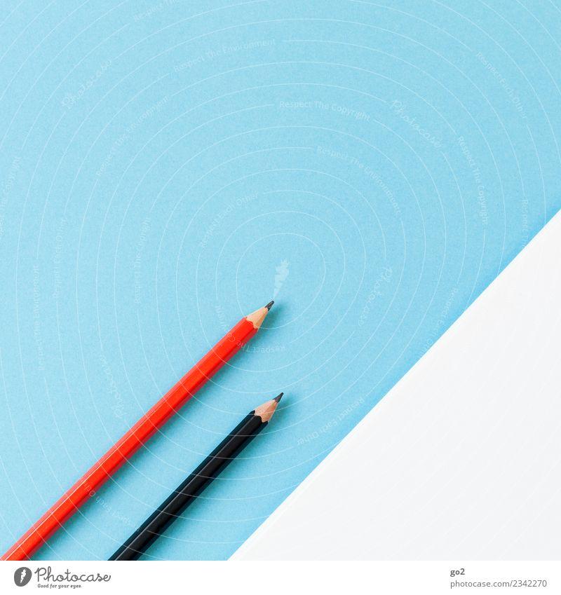 Bleistifte und weißes Papier blau rot schwarz Schule Arbeit & Erwerbstätigkeit Design Freizeit & Hobby Büro ästhetisch Kreativität Erfolg lernen Idee Studium