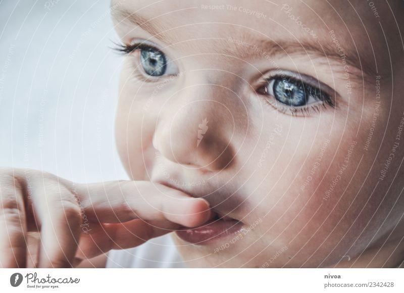 Kindergesicht in Denkerpose Mensch blau schön Gesicht Auge Leben Gesundheit Gefühle Bewegung Junge Denken Stimmung Kindheit frisch Finger