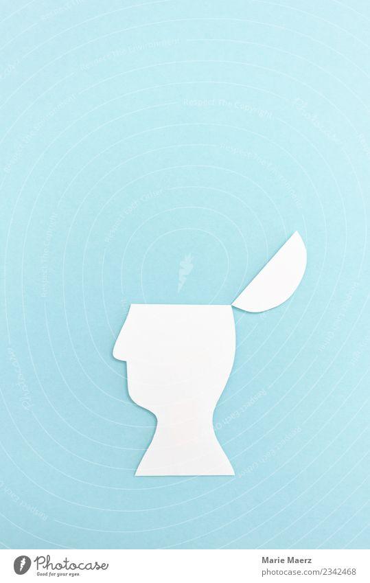 Offener Kopf als Papier-Silhouette Bildung Wissenschaften lernen Denken entdecken frei blau Tugend beweglich Weisheit Neugier Interesse Horizont